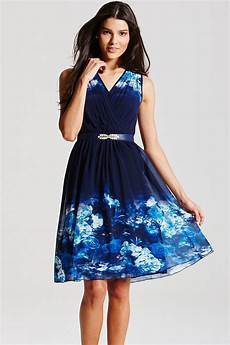 blue floral crossover dress from uk