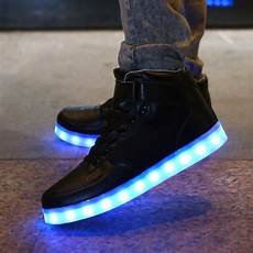 Mens Size 11 Light Up Shoes Led Sneakers Black High Tops Clearance Sale Electro