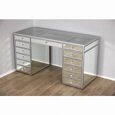 mirrored see through vanity table with 13 drawers clear