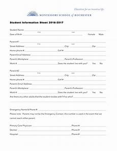 Student Information Card Template Student Information Sheet Templates At
