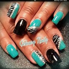 Black And Teal Nail Designs Teal Black Zebra Bling Nail Design Nails