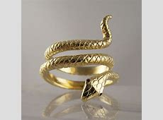 18ct Yellow Gold Snake Ring With Ruby Eyes   Ring Jewellery