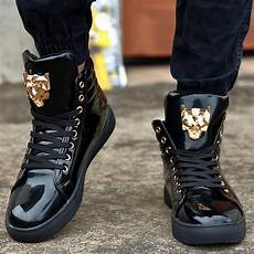 2018 fashion high top casual shoes for pu leather lace