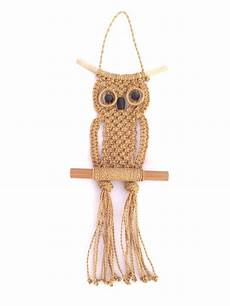 vintage 1970s decorative woven sisal macrame owl wall