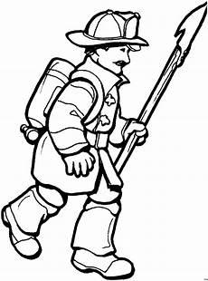 feuerwehrmann mit schaufel ausmalbild malvorlage feuerwehr