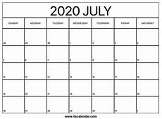 Blank 2020 Calendar By Month Free Printable July 2020 Calendar
