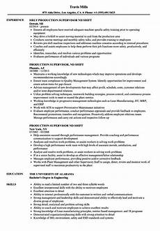 Production Supervisor Resume Samples Production Supervisor 2nd Shift Resume Samples Velvet Jobs