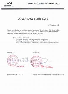 Sample Of Certificate Of Acceptance Acceptance Certificate