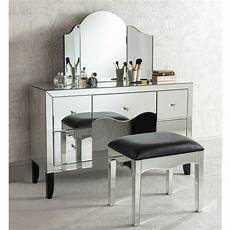 valentina mirrored dressing table set cut glass mirrored