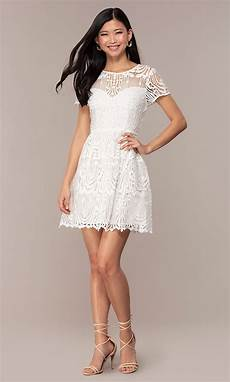 white lace sleeve grad dress promgirl