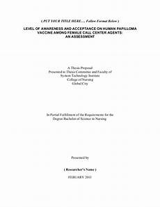 Research Title Samples Nursing Thesis Proposal Format