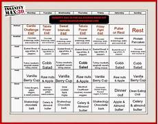 Insanity Food Plan Insanity Max 30 Meal Plan Insanity Max 30 Meal Plan