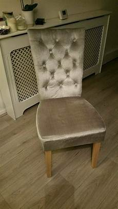 grey crushed velvet dining or dressing table chair in