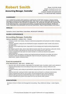 Accounting Manager Resume Accounting Manager Controller Resume Samples Qwikresume