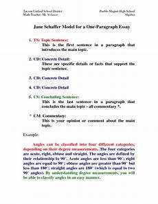 Schaffer Essay Format Schaffer Model For A One Paragraph Essay By Hxi76773
