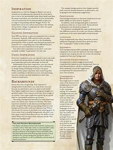 5e Backgrounds Chart Player S Handbook Backgrounds D Amp D 5e