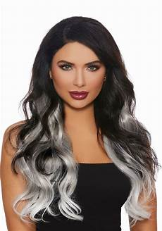 3 ombre grey white hair extensions