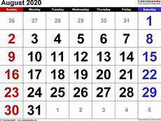 August Blank Calendar 2020 August 2020 Calendar Templates For Word Excel And Pdf