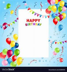 Birthday Sign Template Balloons Happy Birthday Card Template Royalty Free Vector