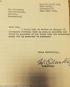 Resign Later Bill Shankly S Letter Of Resignation As Liverpool Manager