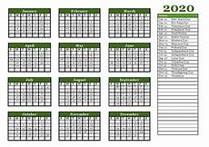 2020 Yearly Calendar Template Full Landscape And Potrait