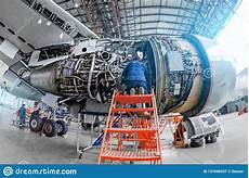 Airplane Mechanic Airplane Mechanic Diagnose Repairs Jet Engine Through Open