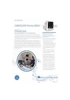 Pdf Download Ge Healthcare Carescape Monitor B650 User