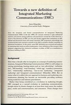 Integrated Marketing Communications Definition Pdf Towards A New Definition Of Integrated Marketing