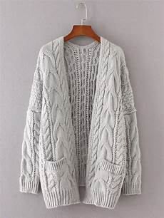 stricken cardigan drop shoulder cable knit cardigan shein sheinside