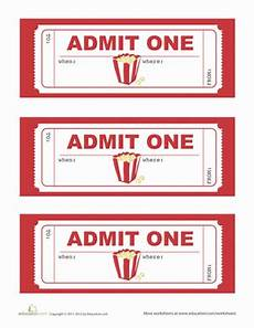 Free Printable Movie Tickets Movie Party Invitations Worksheet Education Com