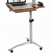 angle height adjustable rolling laptop desk cart