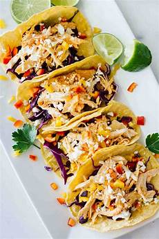 healthy sriracha shredded chicken tacos jar of lemons