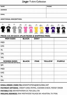 Tee Shirt Order Form Printable T Shirt Order Forms Templates