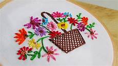 embroidery flowers basket
