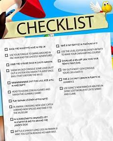 Video Game Checklist Gamer S Checklist K Zone
