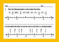 ordering decimals and fractions on number line worksheet