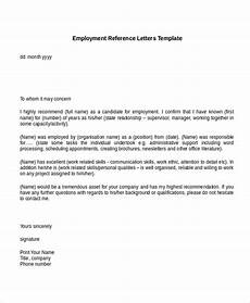 Template For Letter Of Reference 13 Employment Reference Letter Templates Free Sample