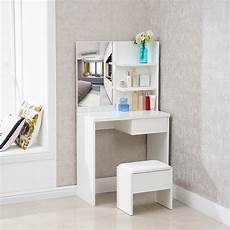 white corner dressing table 1 drawer mirror stool set
