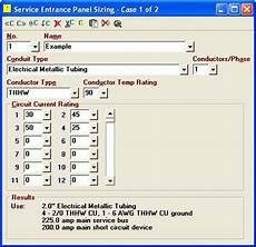 Electrical Panel Size Chart Elite Software Electrical Tools