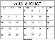 Printable Calendar August August 2018 Calendar Printable