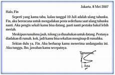 contoh surat tidak resmi dalam bahasa indonesia beserta