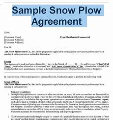 Commercial Snow Removal Contract Snow Removal Agreement And Contract Sample Contracts