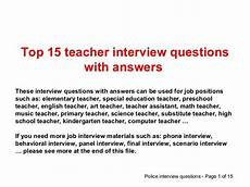 Interview Questions For Special Education Teachers Top 15 Teacher Interview Questions And Answers And Other