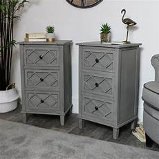 pair of grey bedside table chests venice range