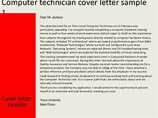 Computer Technician Cover Letter Application Letter For Computer Technician Position