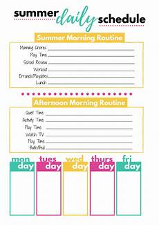 Free Daily Schedule Summer Daily Schedule Template Smart Cents