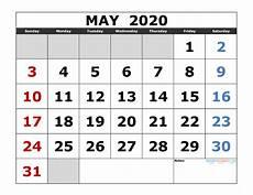 Large 2020 Calendars May 2020 Printable Calendar Template Excel Pdf Image Us