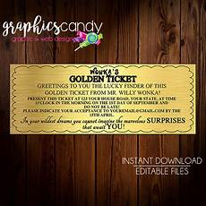 Golden Ticket Invitation Willy Wonka Golden Ticket Invitation Amp Chocolate Wrapper