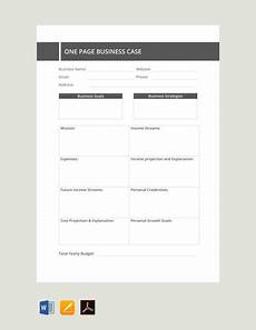 Free Business Case Template Free One Page Business Case Template Pdf Word Doc