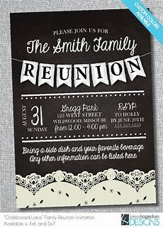 Family Reunion Flyers Templates Family Reunion Chalkboard Invitation With Lace Digital